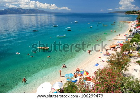 Picturesque view on dalmatian beach in Brist, Croatia - stock photo