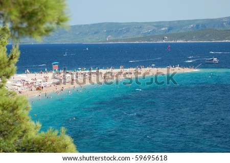Picturesque view on Golden Cape on Brac island, Croatia - stock photo