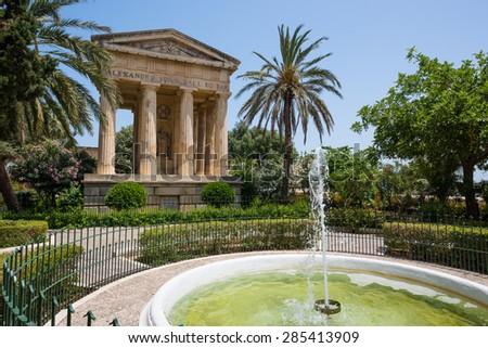 picturesque view on Lower Barrakka Gardens in Valletta in Malta - stock photo