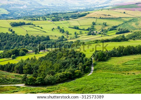 Picturesque View on the Hills From Stanage Edge, Hathersage, Peak District National Park, Derbyshire, England, UK