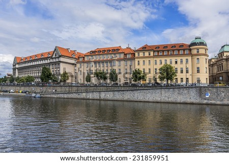 Picturesque views of the Old Town with its ancient architecture and banks of Vltava River at sunset, Prague, Czech Republic.