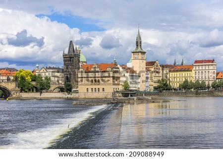 Picturesque views of the Old Town with its ancient architecture and banks of Vltava River in Prague, Czech Republic.