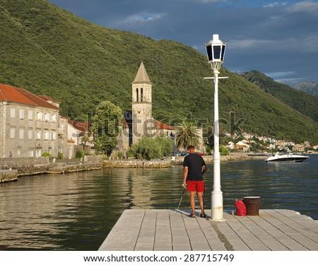 picturesque village along Kotor Bay, Montenegro - stock photo