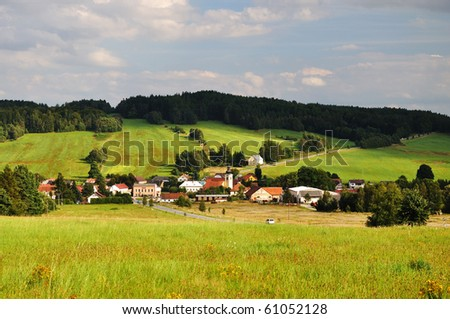 picturesque village in the south bohemian - stock photo
