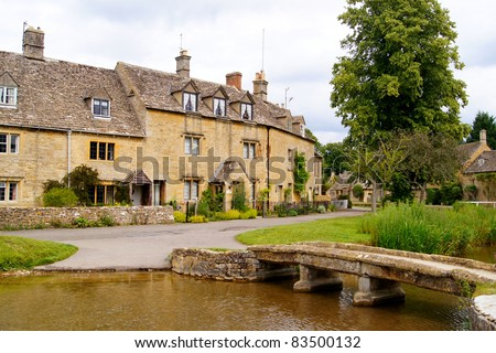 Picturesque village of Lower Slaughter in the Cotswolds of England - stock photo