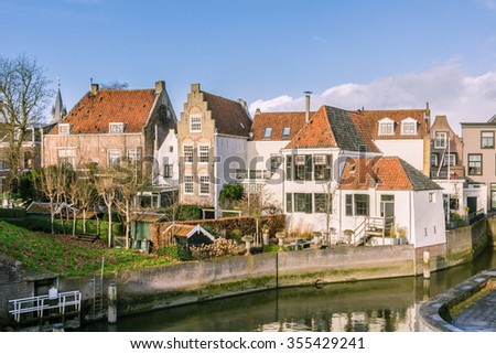 Picturesque village Schoonhoven near the river Lek in the Netherlands - stock photo