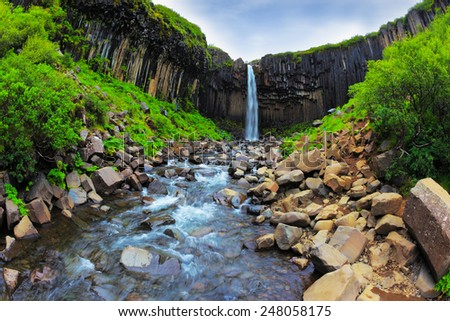 Picturesque waterfall Svartifoss in Skaftafell National Park of Iceland. Black basalt columns frame the water jet - stock photo