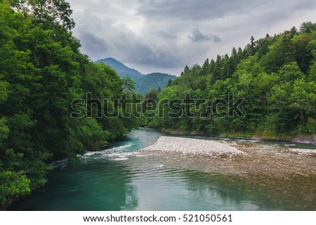 Picturesque White River in the mountains of the Caucasus