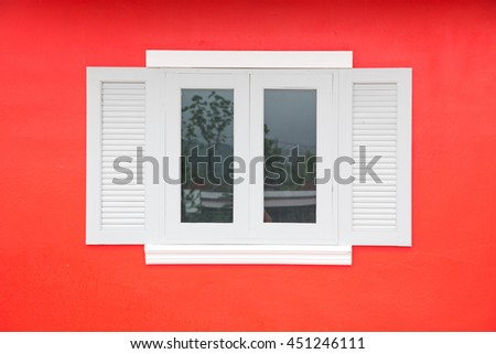 Picturesque window on wall of house. Italy home style