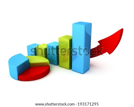 pie and bar growing charts diagrams with rising arrow. business success 3d render illustration - stock photo