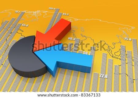 Pie bar chart - stock photo