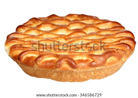 Pie by cottage cheese it is isolated on a white background