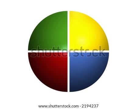 pie chart 100%/4 - stock photo