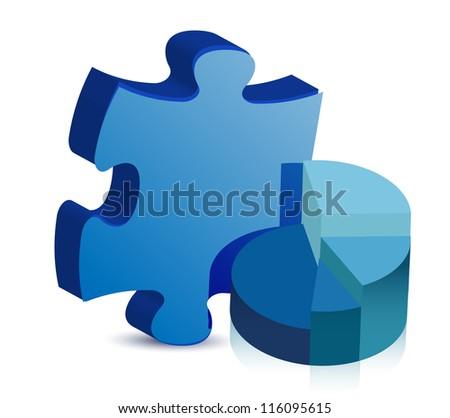 pie chart and puzzle piece illustration design over white - stock photo