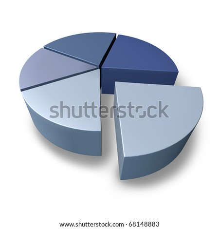 pie chart blue pieces of puzzle business icon graph chart isolated 3D portion financial symbol - stock photo