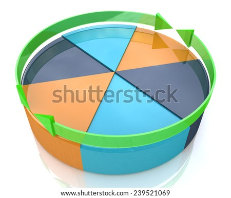 Pie chart. Business improvement concept. Finance 3d growth graph  - stock photo