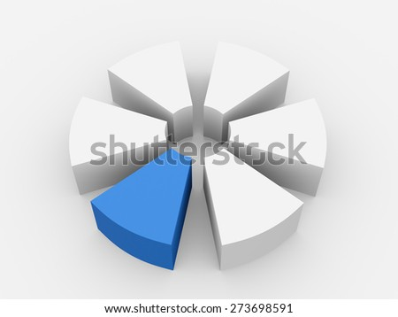 pie chart divided into parts with the release of one of the parts. 3d - stock photo