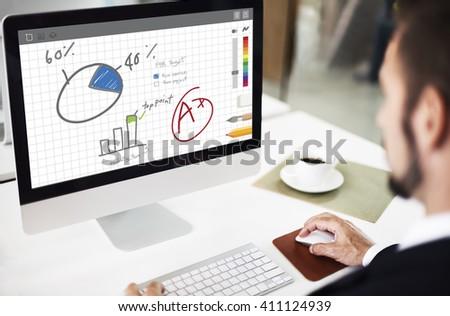 Pie Chart Graph Analyzing Data Concept - stock photo