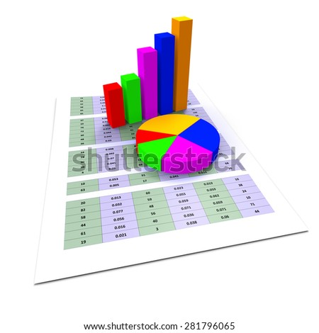 Pie Chart Indicating Business Graph And Charts - stock photo