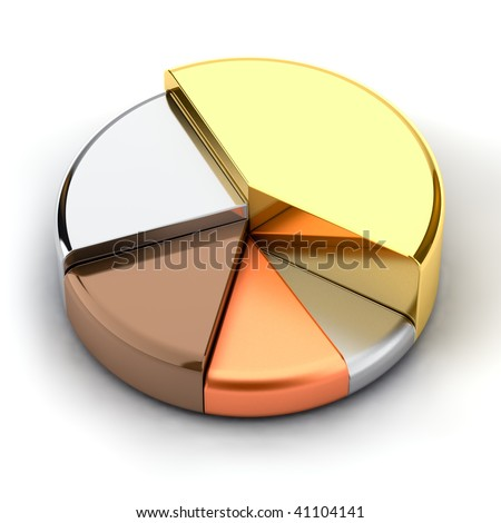Pie chart, made of different metals - gold, silver, bronze, copper, lead - stock photo