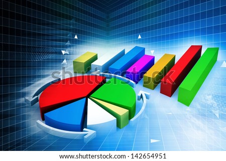 Pie chart on abstract business background