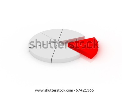 Pie chart on white background - stock photo