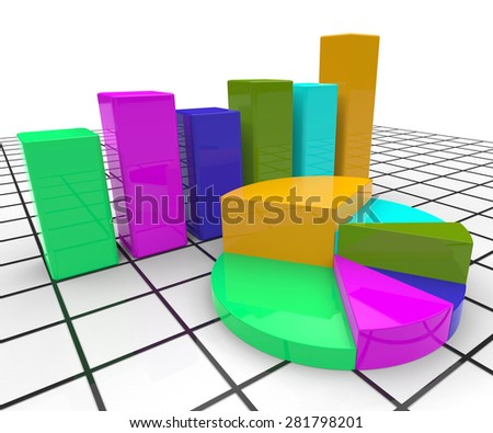 Pie Chart Report Meaning Statistic Infograph And Statistical - stock photo