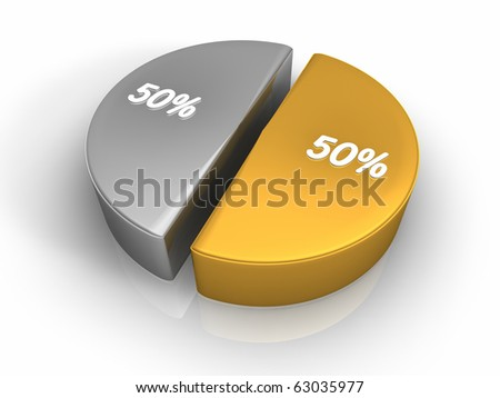 Pie chart with fifty - fifty percent, 3d render - stock photo