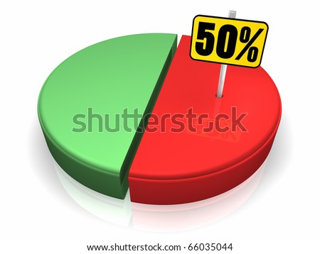 Pie chart with fifty percent sign, 3d render - stock photo