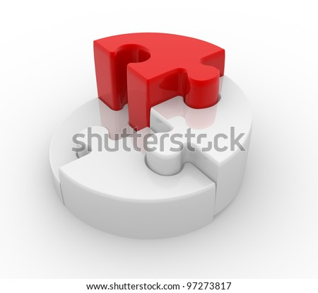 Pie chart with puzzle pieces ( jigsaw). 3d render - stock photo