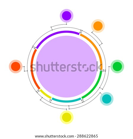 Pie chart with satellites connected by lines. Clean and simple. - stock photo