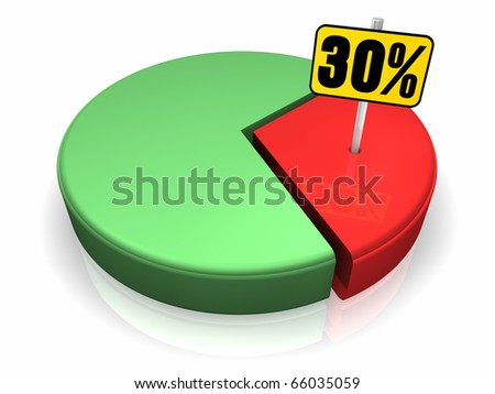 Pie chart with thirty percent sign, 3d render - stock photo