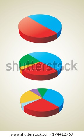 pie charts (pie chart graph) - stock photo
