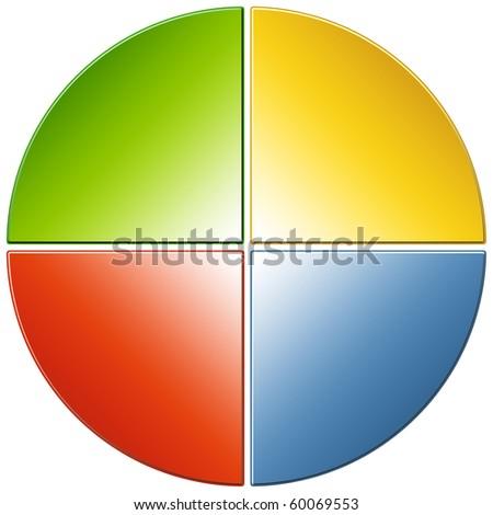 Pie Diagram with 25% slices - stock photo