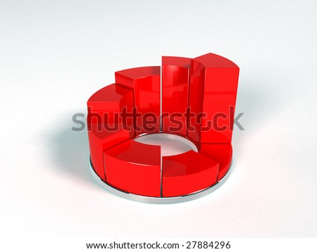 Pie Graph (3d render) - stock photo