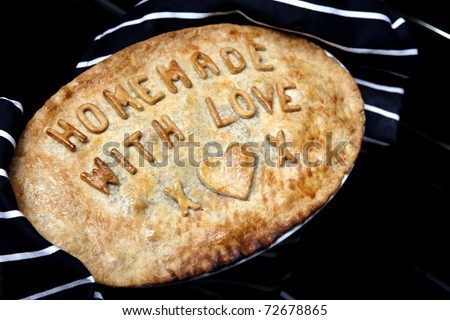 Pie Homemade with love x - stock photo