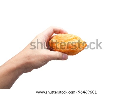 Pie in the hand on a white background - stock photo