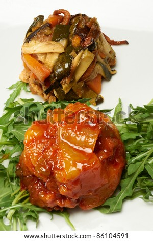 pie of eggplants and pie of swordfish - stock photo