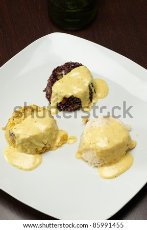 pie of rice with artichokes and cream - stock photo