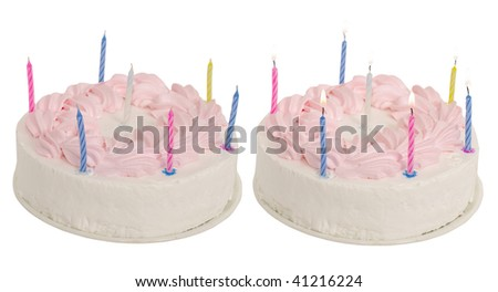 Pie on birthday with seven candles - stock photo