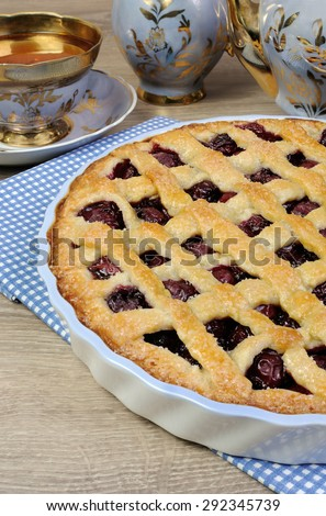 Pie shortcrust pastry with cherry filling