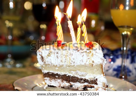 Pie with a candle - stock photo