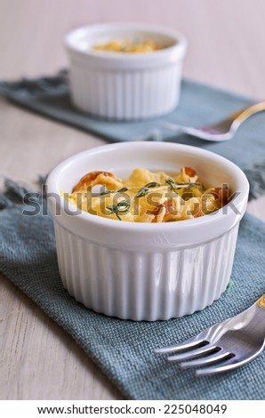 Pie with a Golden crust of white ramekin