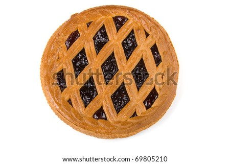 Pie with  berry  filling  isolated on a white background - stock photo