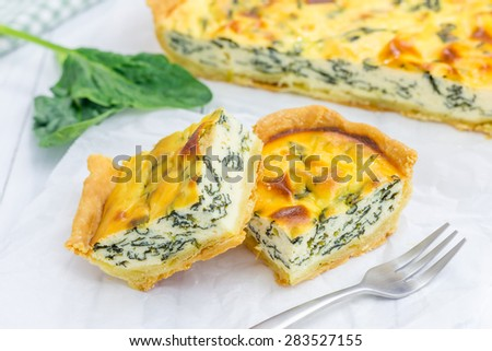 Pie with ricotta and spinach, closeup - stock photo