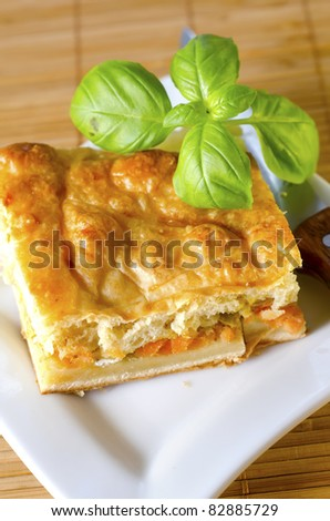 pie with salmon - stock photo