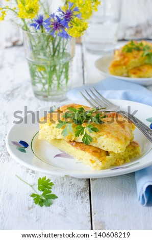 Pie zucchini and cheese - stock photo