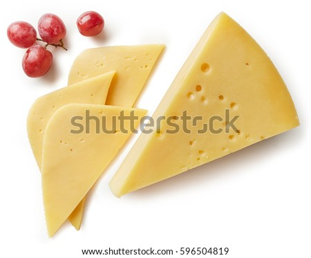 Piece and slices of cheese isolated on white background from top view