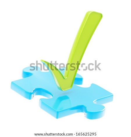 Piece of a blue puzzle under a green tick sign isolated over white background