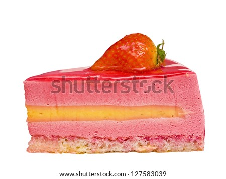 piece of a pie with strawberry on a white background - stock photo